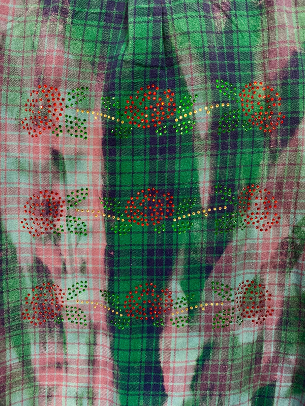 Fanciful Franklin Flannels in Green and Blue Size Large