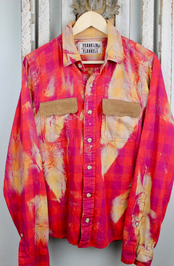 Vintage Hot Pink and Red Flannel with Suede Size Small