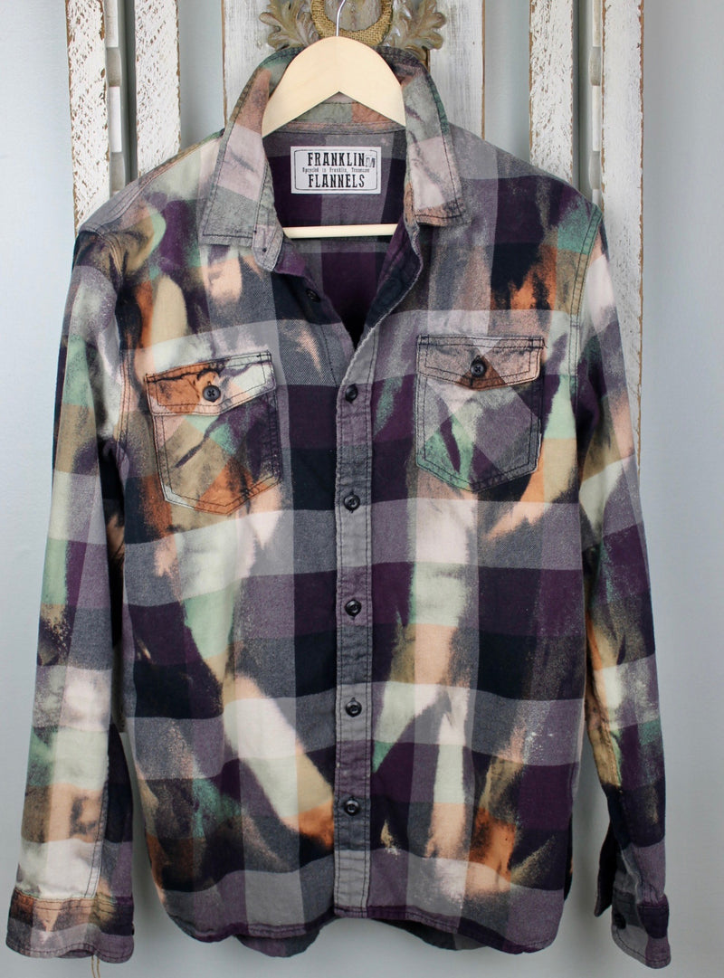 Vintage Purple, Black, Grey, Rust and Light Green Flannel Size Medium