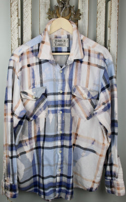 Vintage Blue, White, Peach and Pale Blue Flannel Size Large