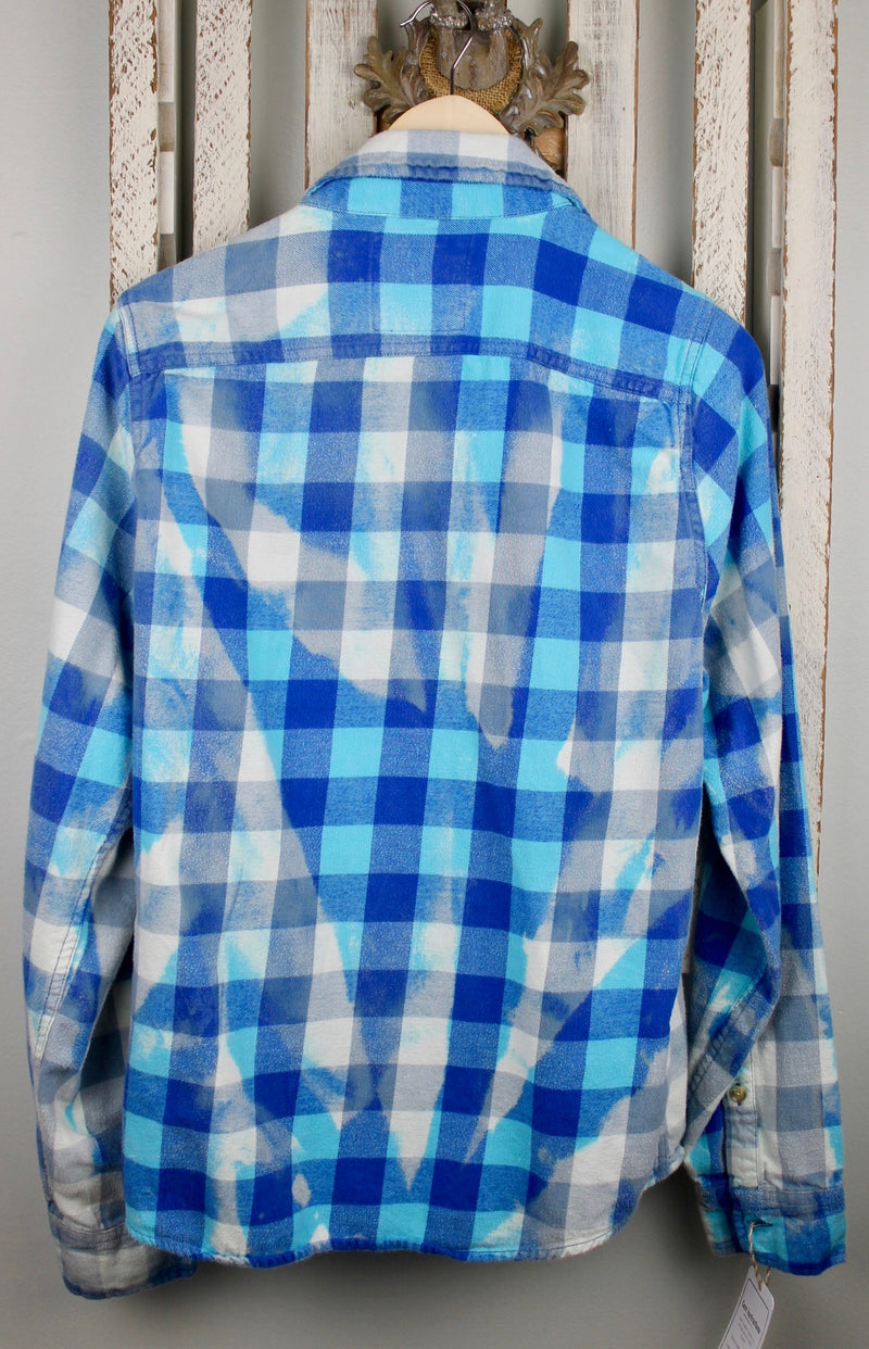 Vintage Royal Blue, Turquoise and White Flannel Size Small