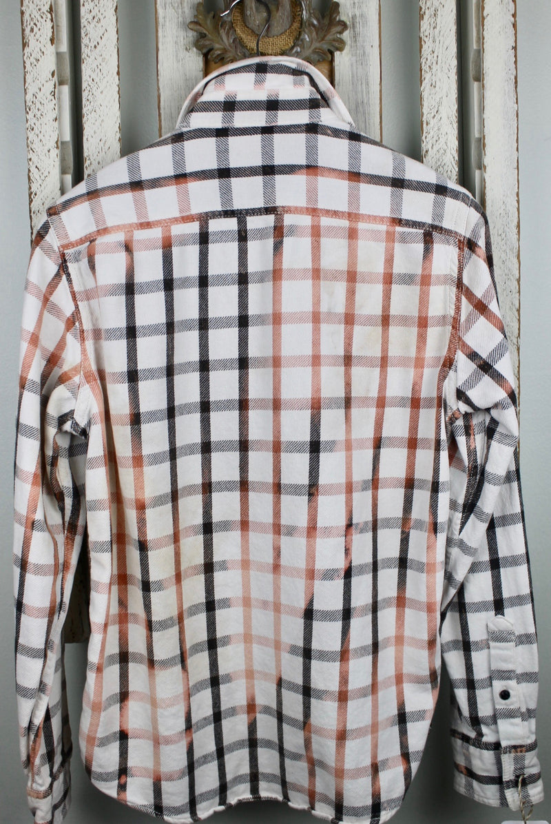 Vintage Black, Peach and White Flannel with Suede Size Small