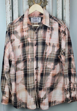 Vintage Peach, Black and Brown Flannel Size Large