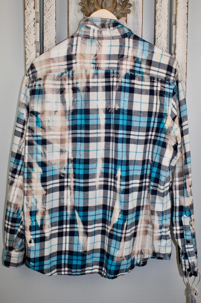 Vintage Turquoise, Black, White and Cream Flannel with Suede Size Medium