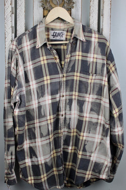 Grunge Faded Black, Grey, Pale Yellow Size Large