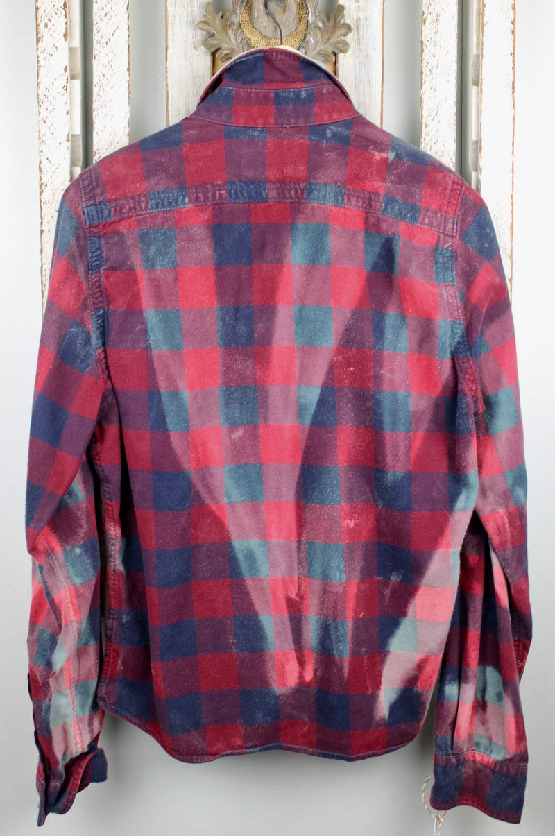Vintage Burgundy, Navy Blue and Grey Flannel with Suede Size Small