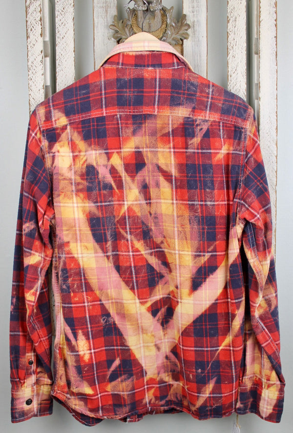 Vintage Red, Blue, Peach and Gold Flannel with Suede Size Small