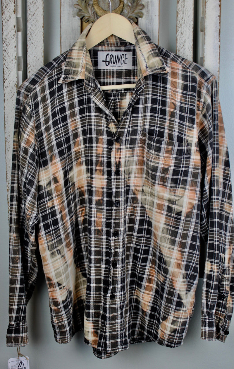 Grunge Brown, Peach and Cream Flannel Size Medium