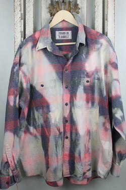 Vintage Grey, Navy Blue, Pale Pink and Burgundy Flannel Size XL