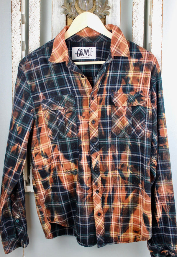 Grunge Black, Teal and Rust Flannel Size Small