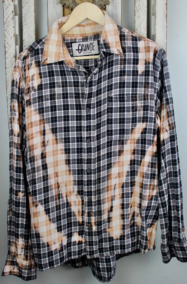 Grunge Black, White and Rust Flannel Size Large