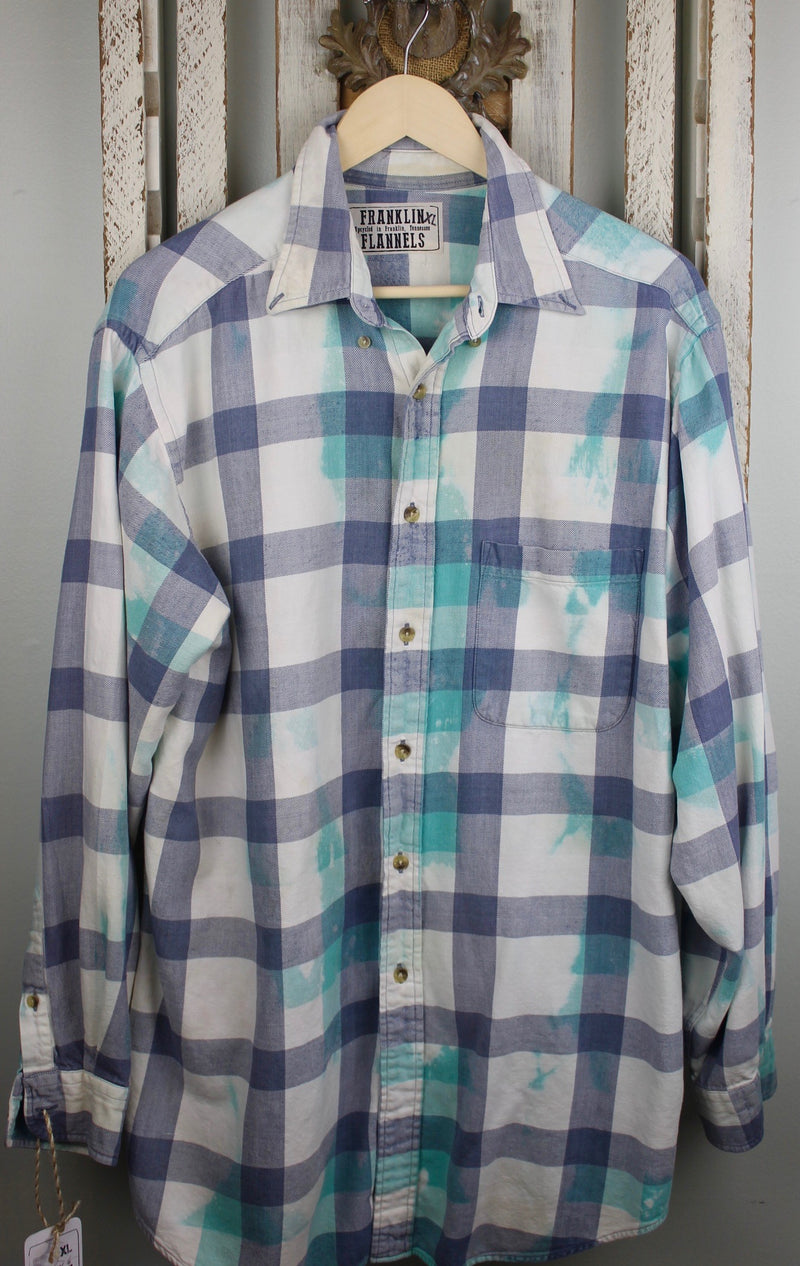 Vintage Turquoise, Denim Blue and White Flannel Size XL