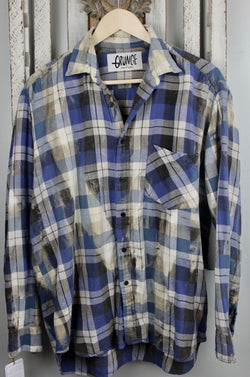 Grunge Blue, Black, Grey and White Flannel Size Large