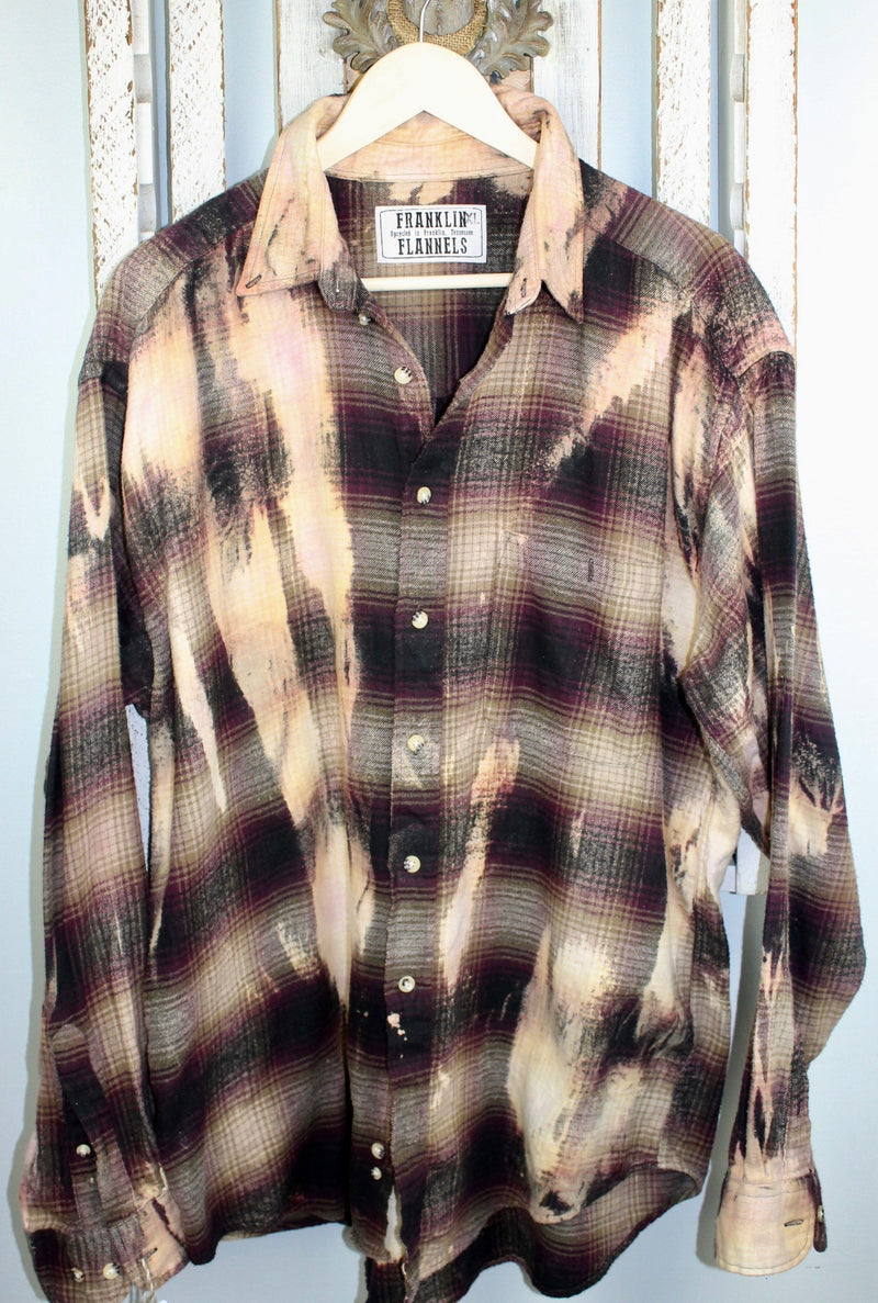 Vintage Burgundy, Black, Brown and Cream Flannel Size XL