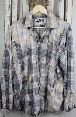 Grunge Grey and Cream Flannel Size Large