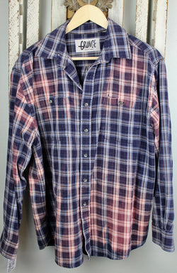 Grunge Navy Blue and Dusty Rose Flannel Size Medium