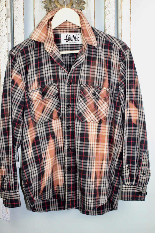 Grunge Black, Taupe, Red and Rust Flannel Size Small