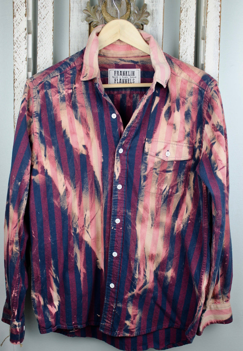 Vintage Navy Blue, Burgundy and Pink Flannel Size Small