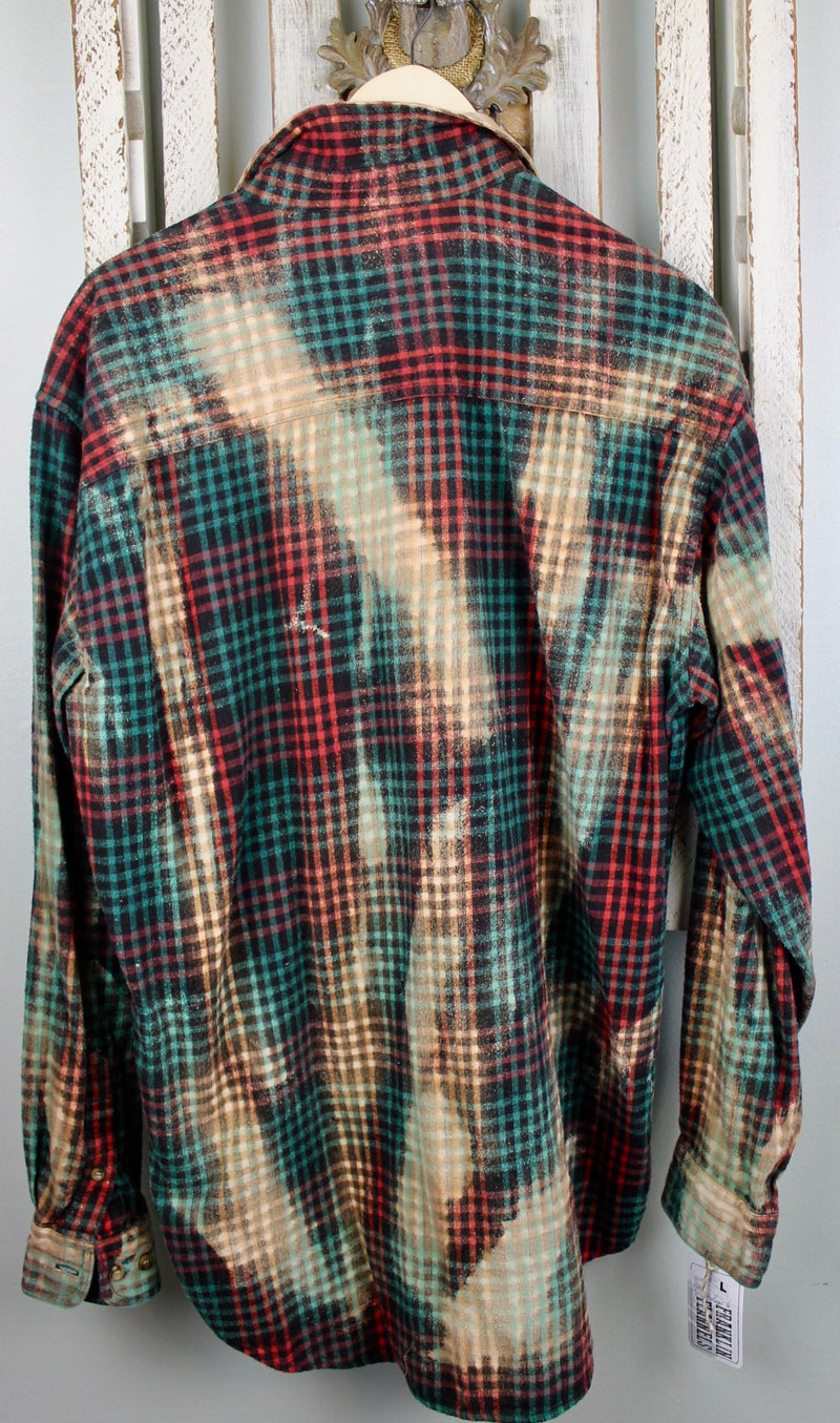 Vintage Green, Red, Black and Cream Flannel Size Large