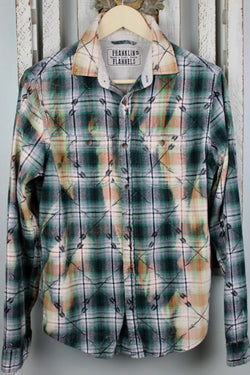 Vintage Green, Black and Peach Flannel Size Small