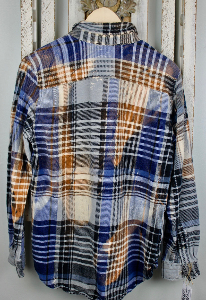 Vintage Navy and Light Blue, Rust and Black Flannel Jacket Size Small