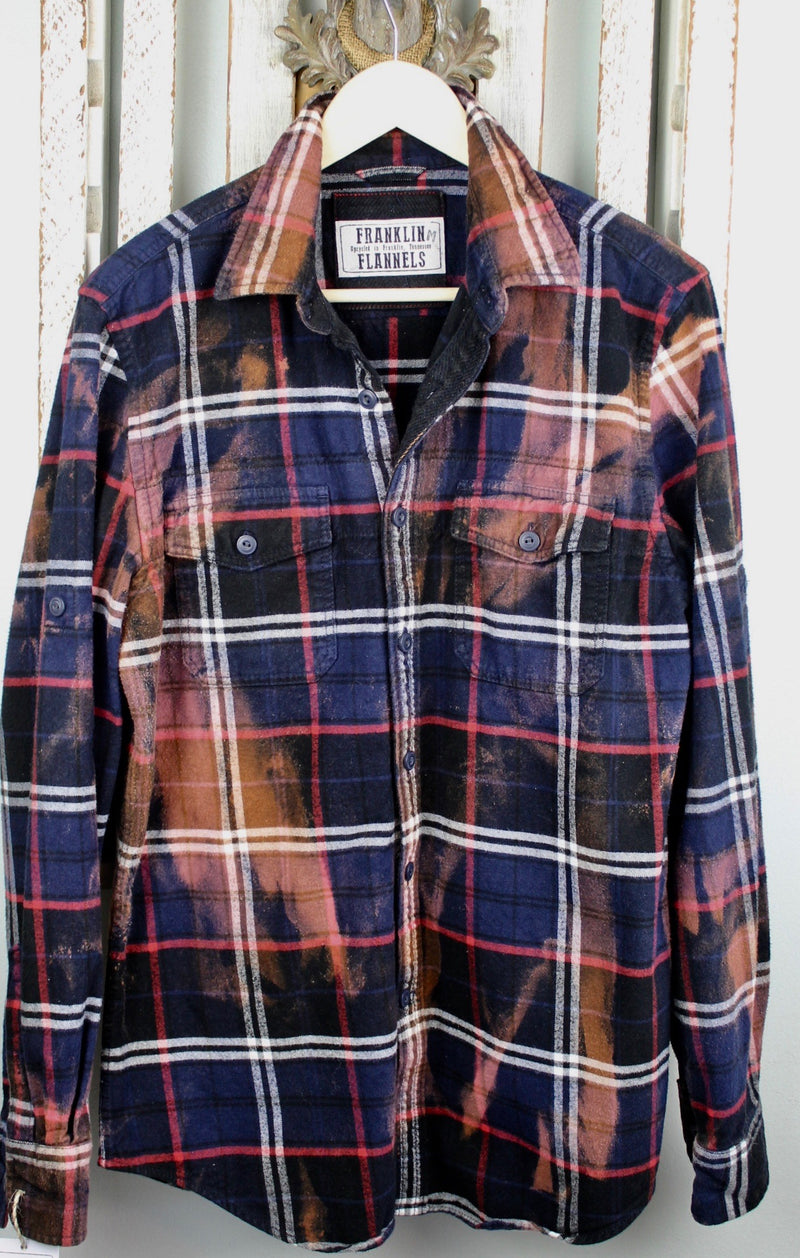Vintage Navy Blue, Black and Rust Flannel Jacket Size Medium