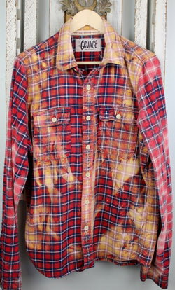 Grunge Red, Navy Blue and Gold Flannel Size Medium