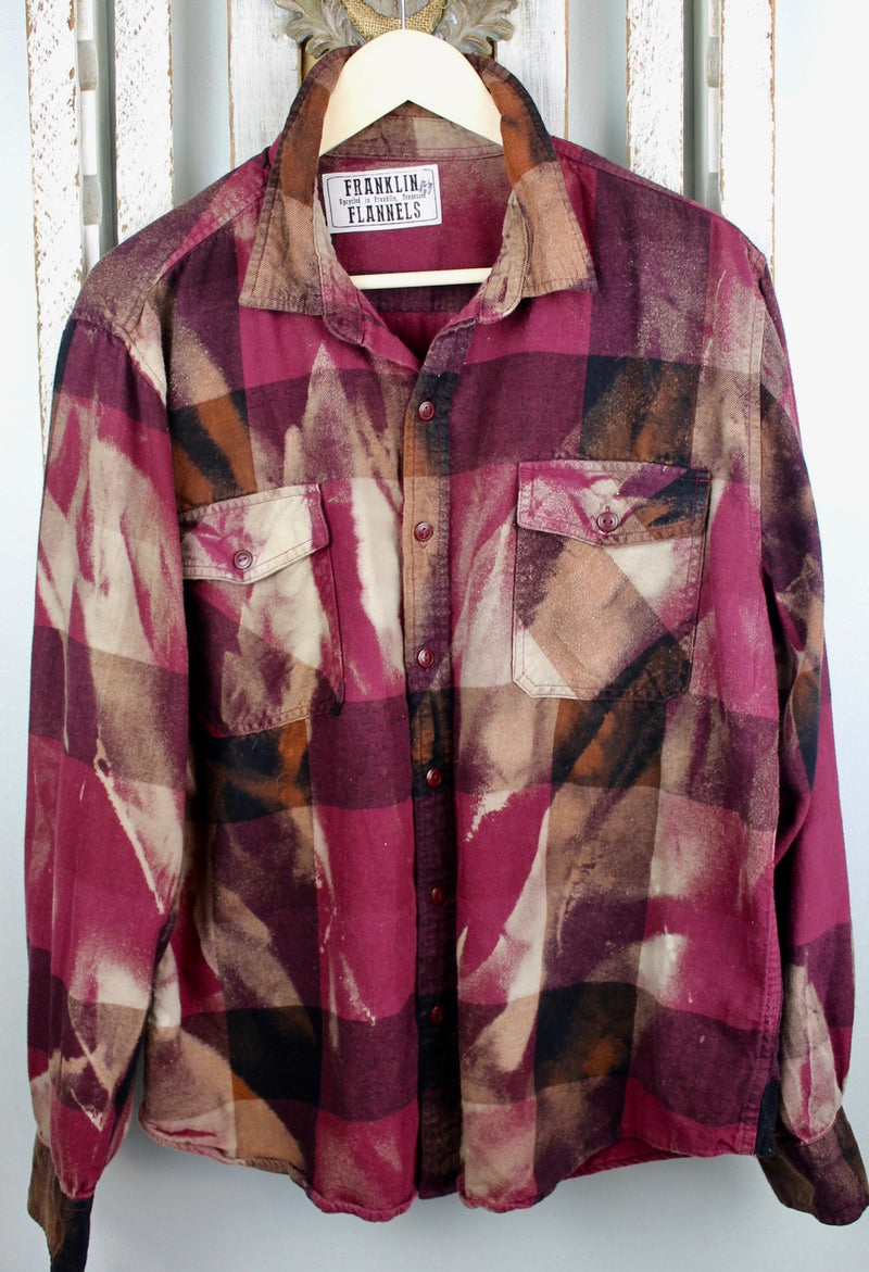 Vintage Deep Burgundy, Black and Taupe Flannel Size Medium