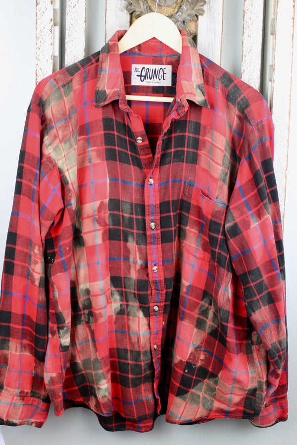 Grunge Red and Black Flannel Size XL