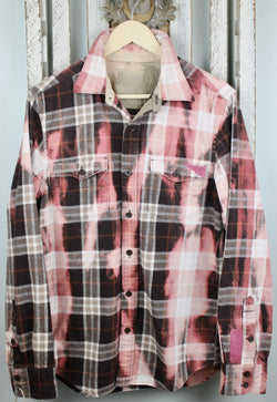 Vintage Pink, White and Chocolate Brown Flannel Size Medium