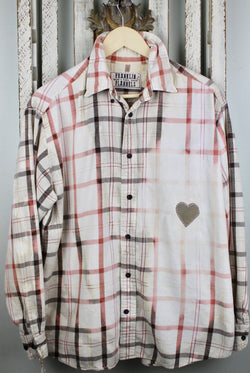 Vintage Cream, Brown and Pink Flannel Size Large