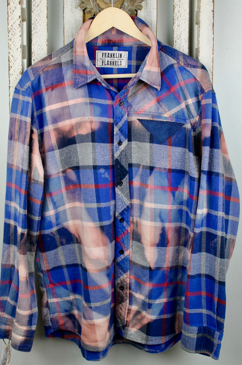 Vintage Royal Blue, Dusty Rose and Grey Flannel Size Large