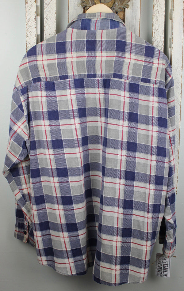 Grunge Blue, Grey and Red Flannel Size XL