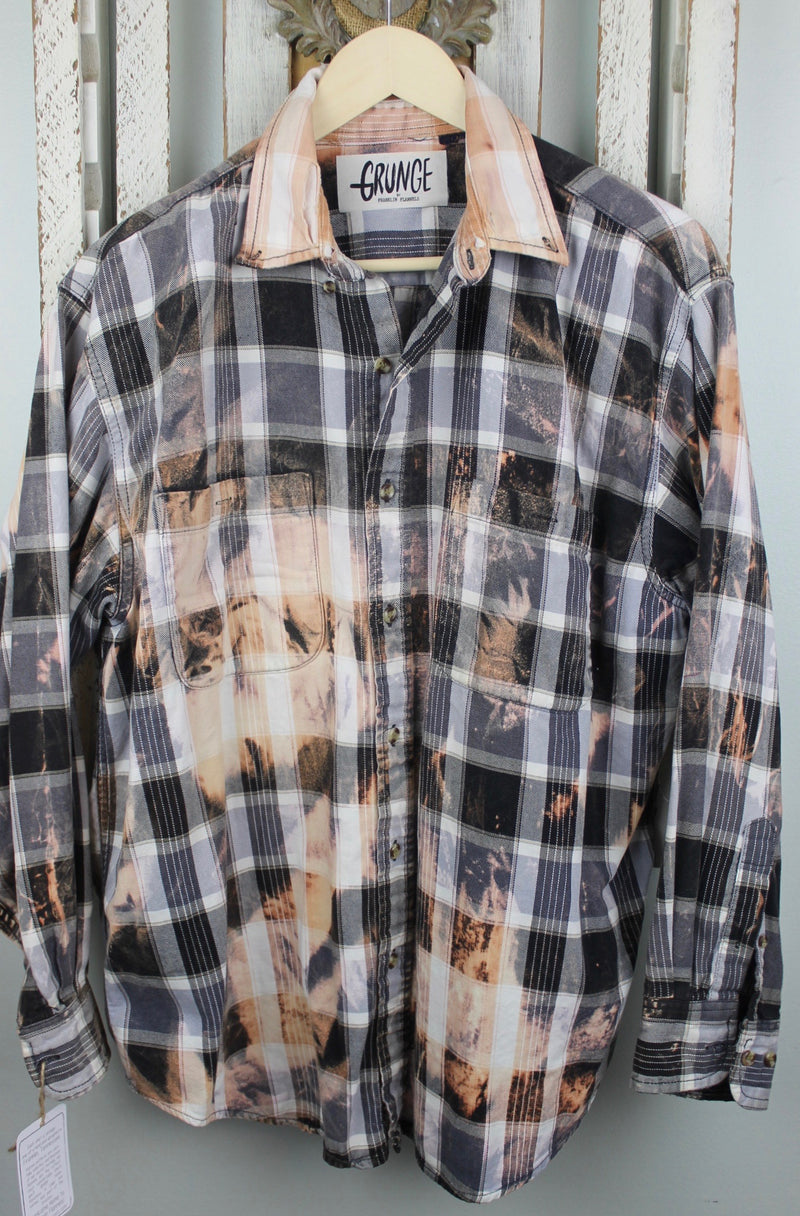 Grunge Black, Grey, White and Peach Flannel Size Large