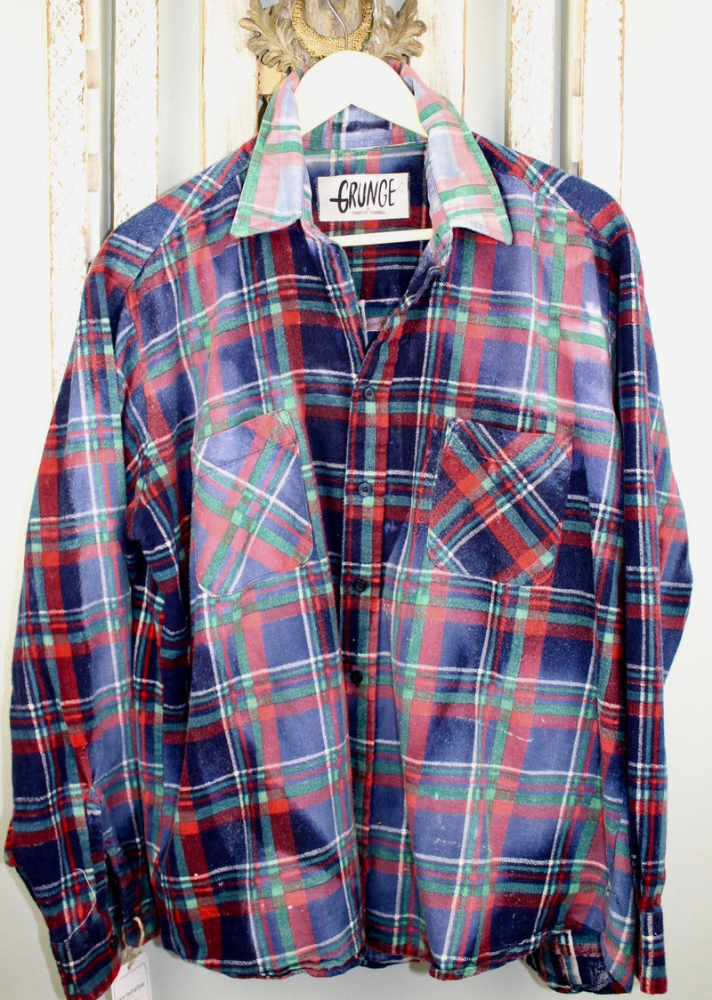Grunge Navy Blue, Red and Green Flannel Size Large