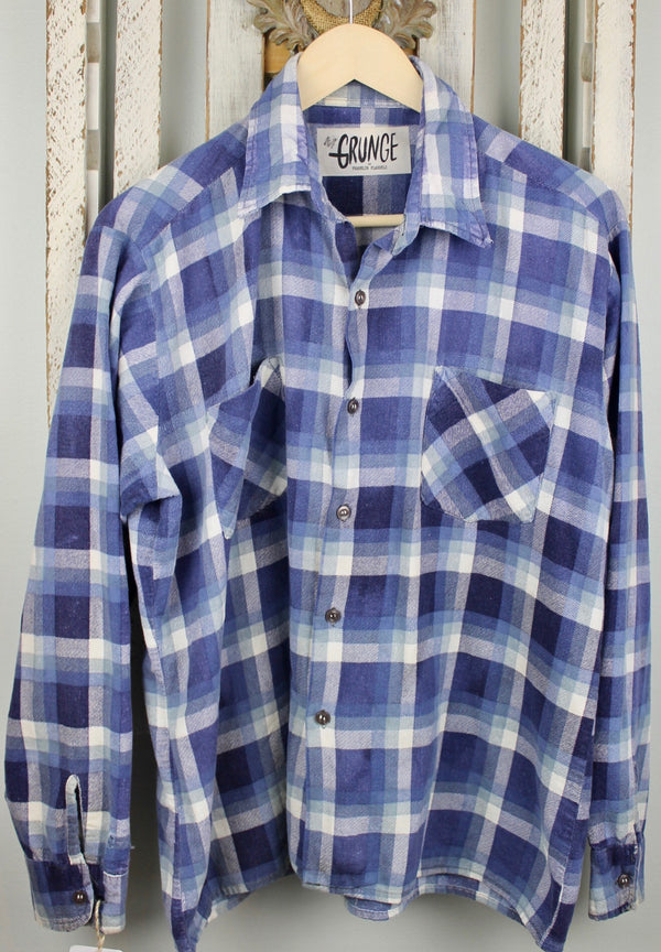 Grunge Blue and White Flannel Size Medium