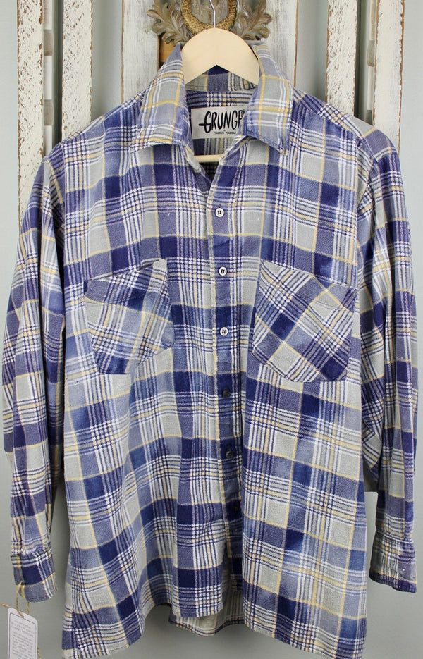 Grunge Retro Blue, Grey and Yellow Flannel Size Large