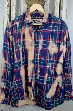 Grunge Navy Blue, Red and Rust Flannel Size Large
