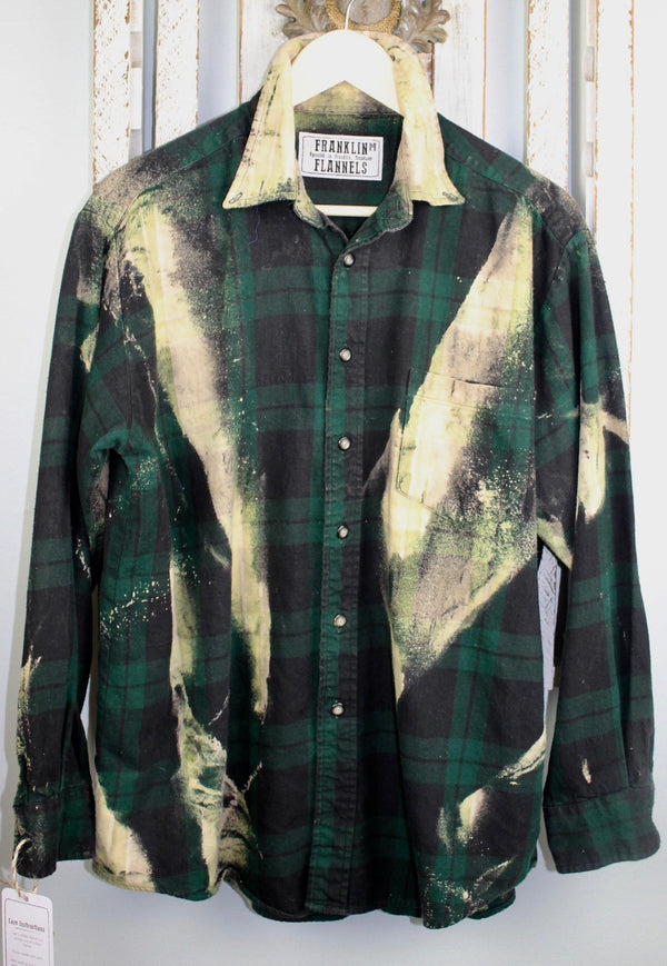 Vintage Dark Green, Black and Pale Yellow Flannel Size Medium