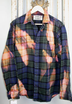 Vintage Dark Green, Navy Blue, Pink and Gold Flannel Size Medium