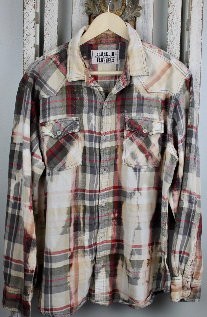 Vintage Grey, Cream and Red Flannel Size Large