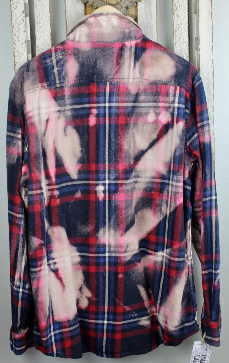 Vintage Navy Blue, Red, Pink and Cream Flannel Size Large
