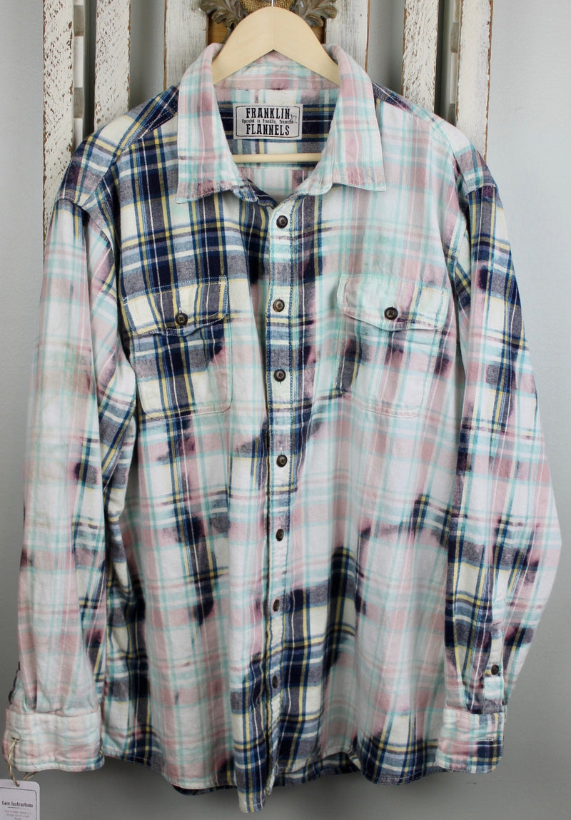 Vintage Sea Foam Green, Blue, Pink and White Flannel Size XL