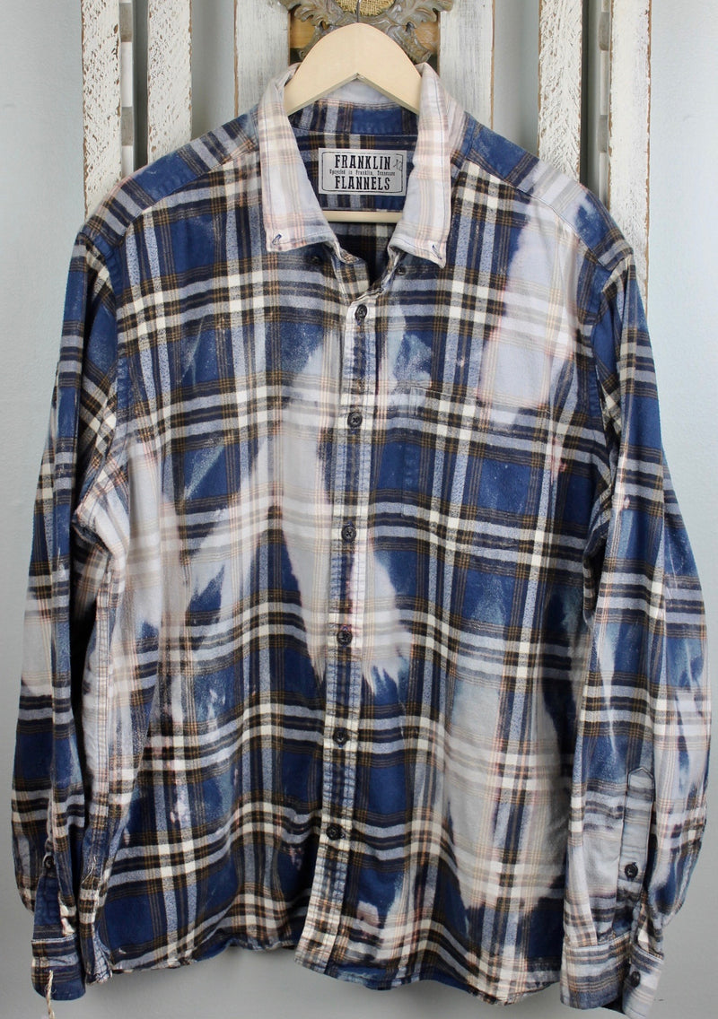 Vintage Blue, Brown and Cream Flannel Size XL