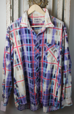 Vintage Purple, Red, White, and Turquoise Flannel Size Extra Large