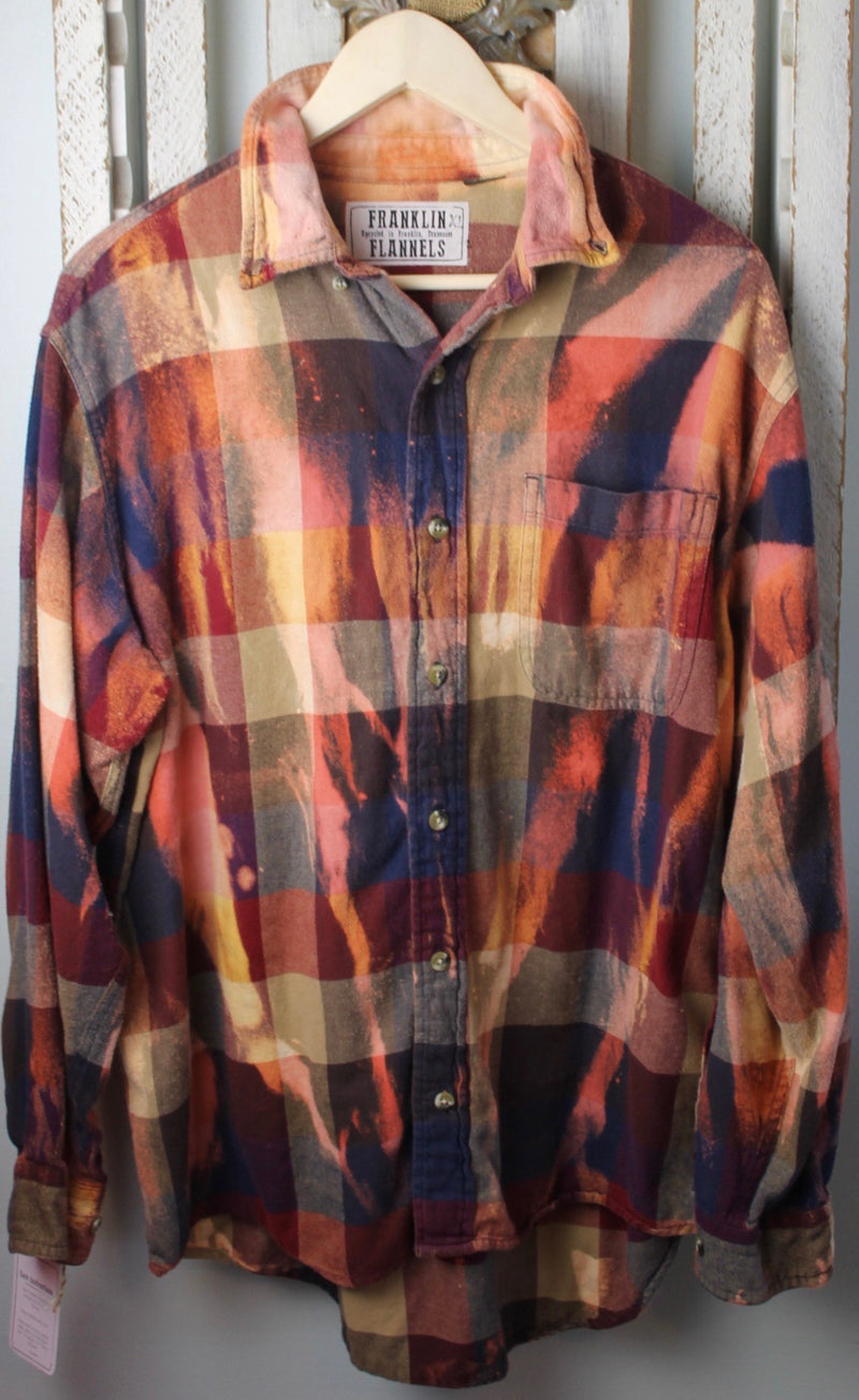 Vintage Rust, Dark Blue, and Gold Flannel Size Extra Large