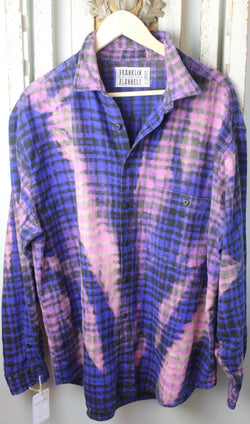 Vintage Blue, Purple, and Pink Flannel Size Extra Large