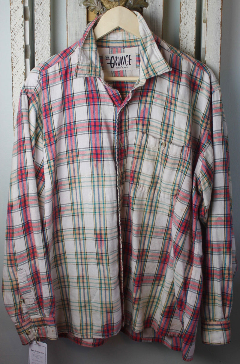 Grunge White, Red, Blue, and Green Flannel Size Extra Large