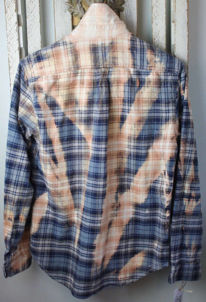 Grunge Grey, Blue, and Gold Flannel Size Small