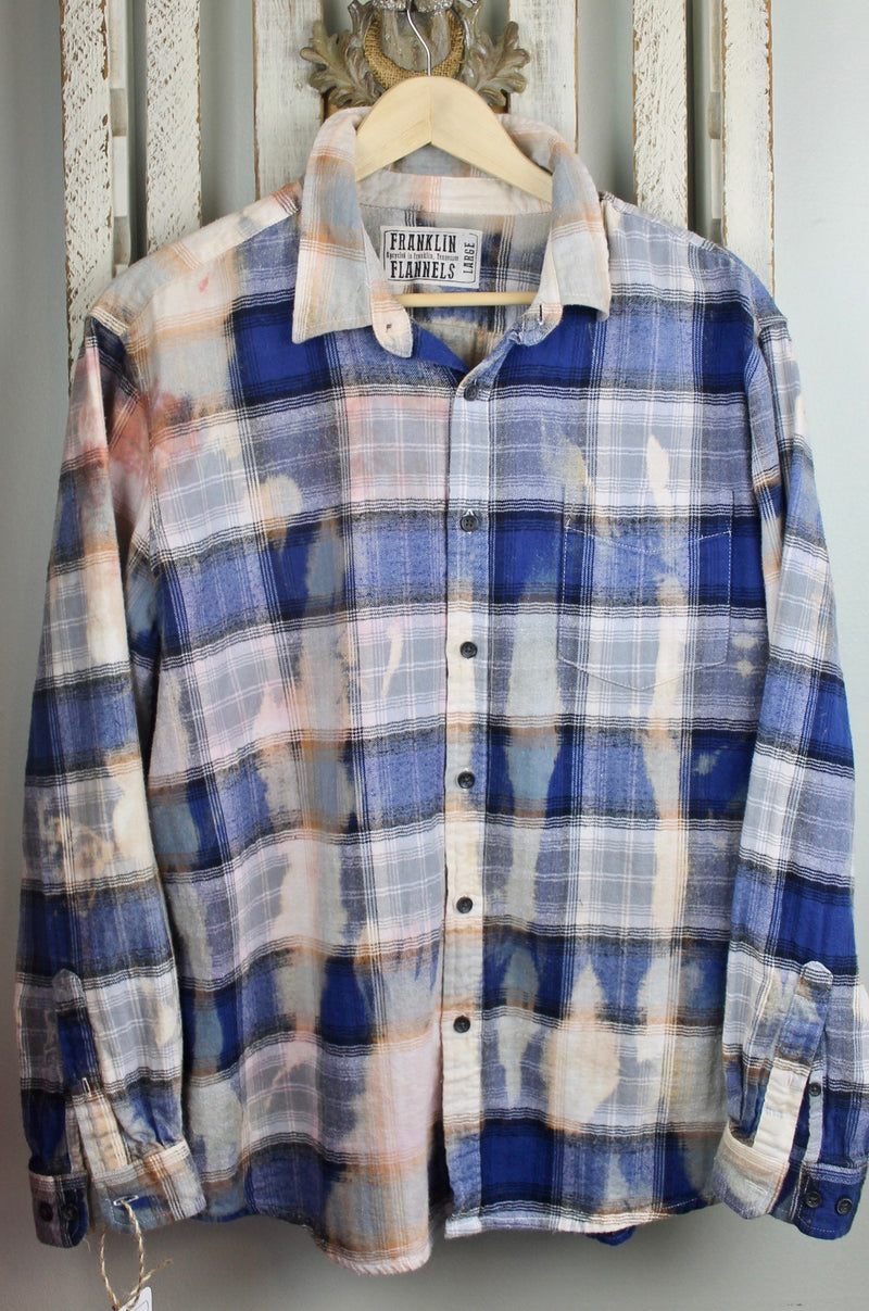 Vintgae Blue, Grey and White Flannel Size Large